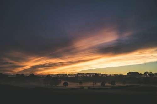 sunset dusk sky clouds nature