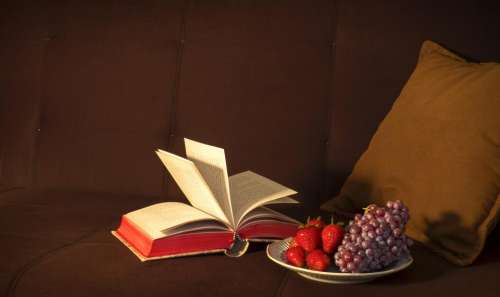 book reading fruits grapes strawberries
