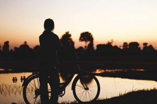 people man alone bike bicycle