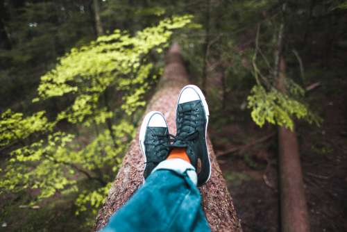 relaxing shoes nature hiking sitting