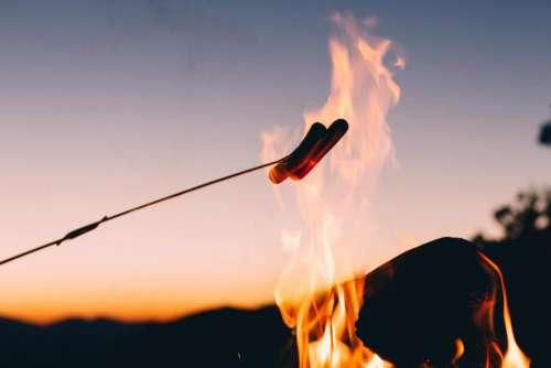hotdog roast fire stick bonfire