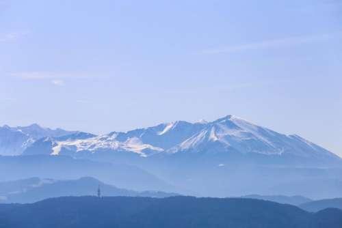 mountain highland blue sky summit