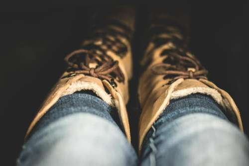 fashion clothes denim boots brown
