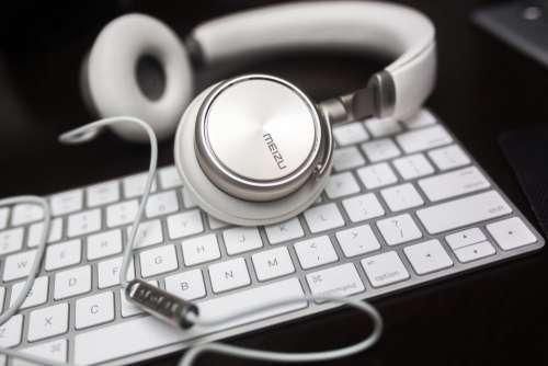 white keyboard headphones headset earphone
