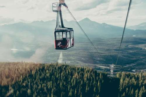 gondola lift cables mountains landscape