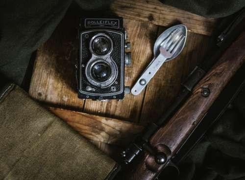 vintage camera wood spork fork