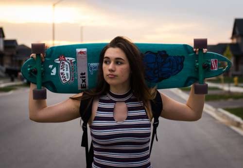 girl longboard summer cool hipster