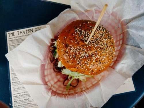 paper food hamburger sesame seeds