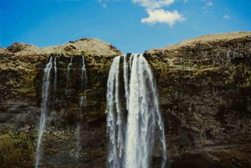 waterfall nature rocks hill moss