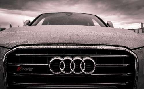 audi car automotive hood raining