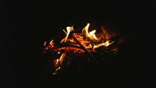 fire camp woods rock spark