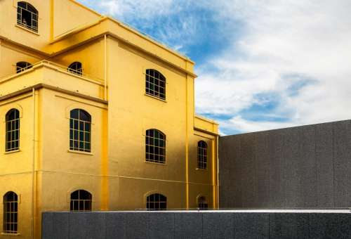 architecture yellow building structure blue