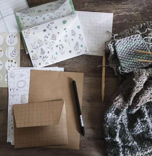 yarn knitting clothing paper envelope