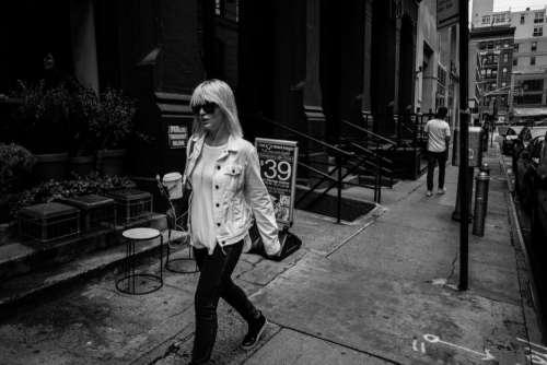 urban city street walking people