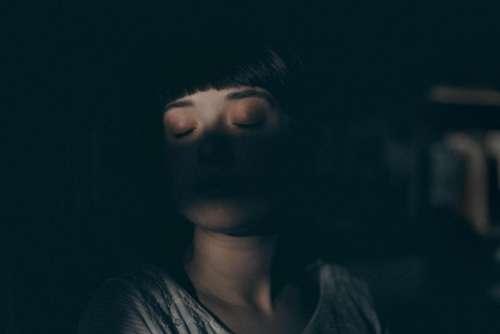 people girl woman sleep dark