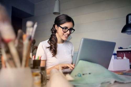 woman work laptop computer desk