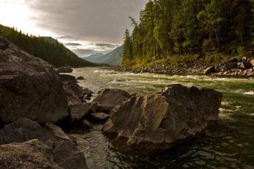 river water stream rocks stones
