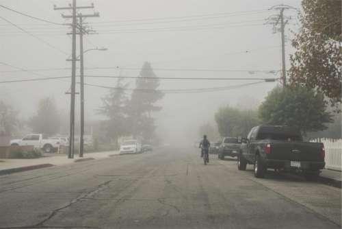 street pavement fog bicycle bike