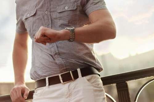 watch time belt pants shirt