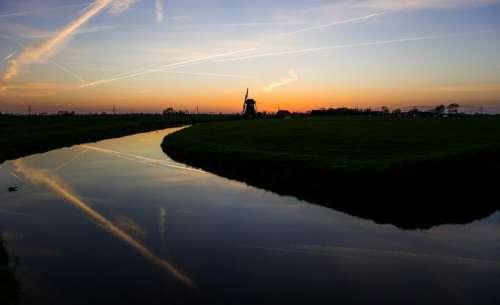 sunset dusk dark sky windmill