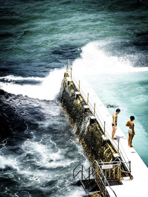 sea ocean water pool fence