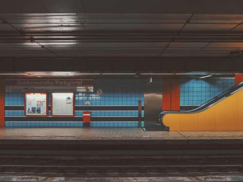 places train station subway blue