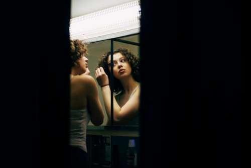 people girl woman alone mirror