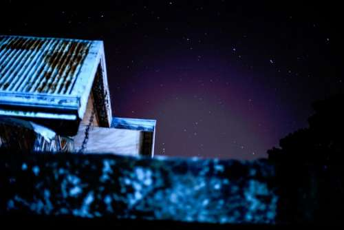 house roof night sky stars