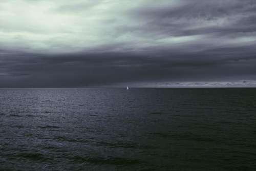 sea ocean water wave dark