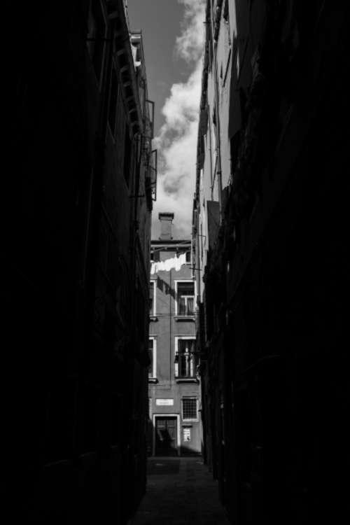 Venice street back & white dark city