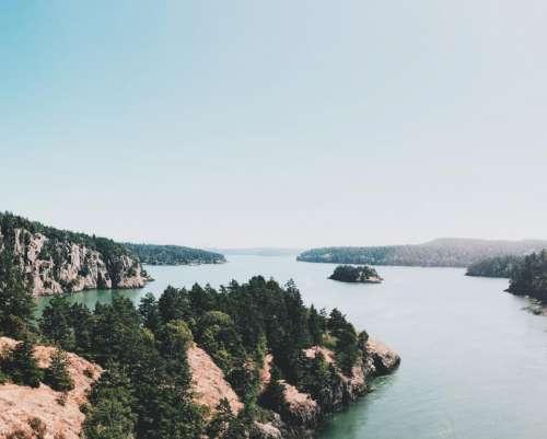 lake water mountain highland rocks