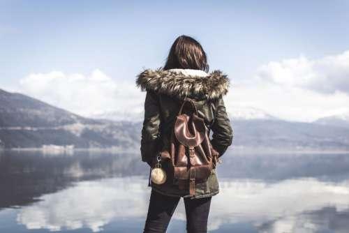 people woman travel bag adventure