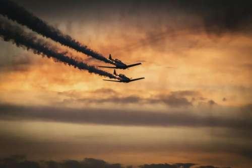 nature landscape airplane clouds sky