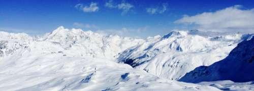 nature snow mountains alps sky