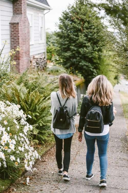 people friends girls walking house