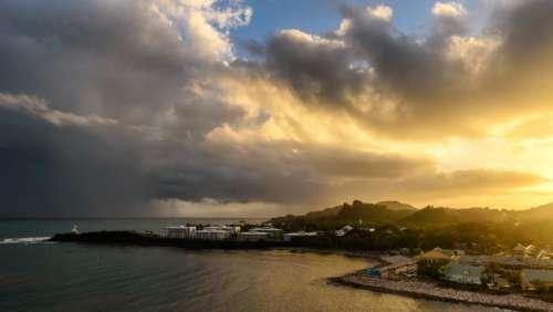 aerial beach sunset drone sky