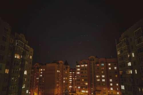 buildings lights city town condos