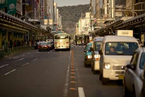cars busses trucks road street