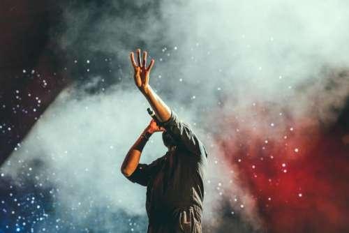 concert singer singing stage lights