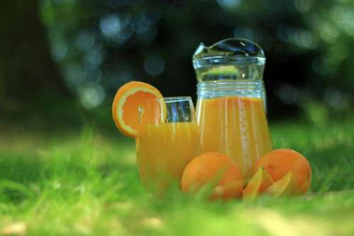 orange juice oranges glass jug