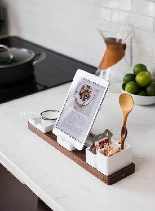 kitchen utensils ladle fruits table