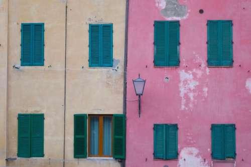 pink wall building design window