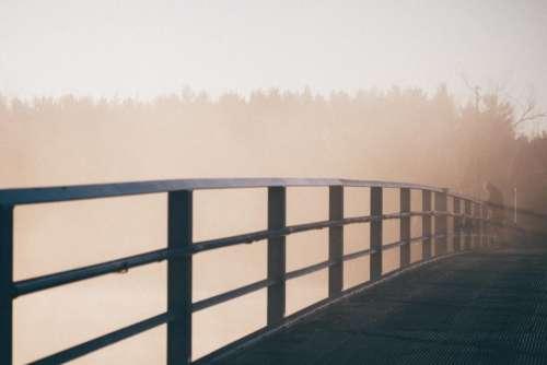 bridge fog foggy nature outdoors