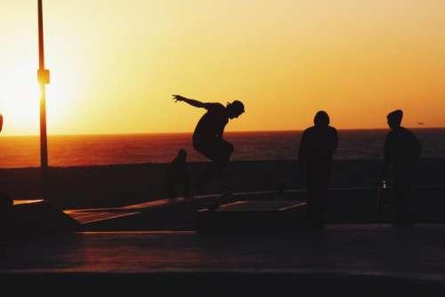 sunset dusk sky summer skateboarding