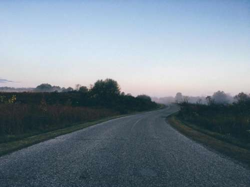 road street pavement rural sky