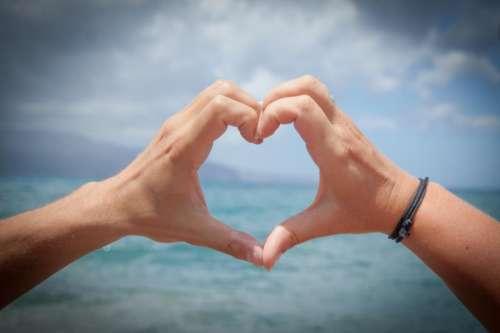 heart hands love romance ocean