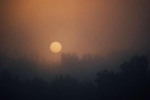 sunrise morning dawn sky foggy
