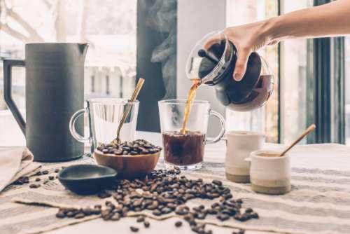 pouring morning coffee black espresso