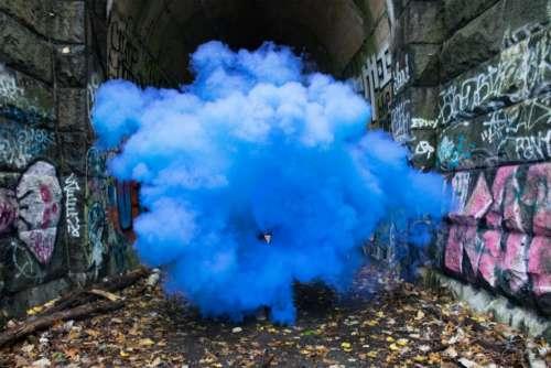 wall tunnel blue smoke graffiti