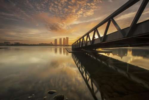 nature landscape water steel bridge